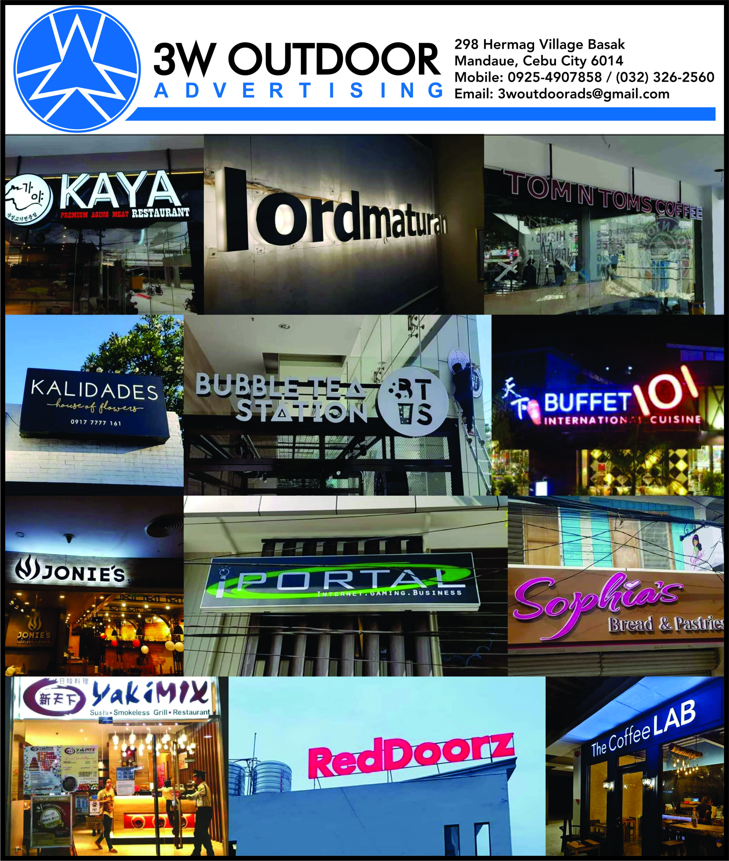 Signages in Cebu- Neon Signs & etc.- 3W Outdoor Advertising